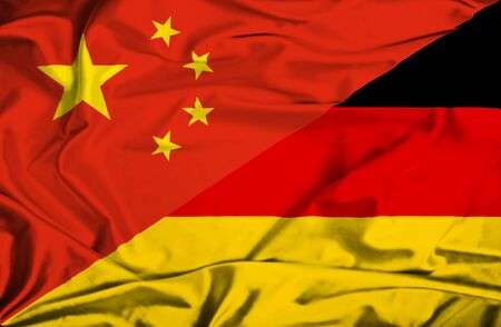 Waving flag of Germany and China photo