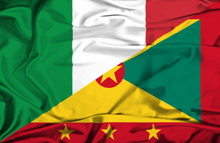 guernsey: Waving flag of Guernsey and Italy