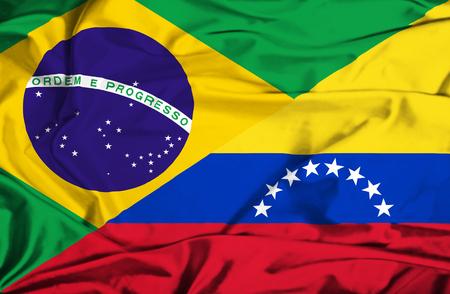 Waving flag of Venezuela and Brazil