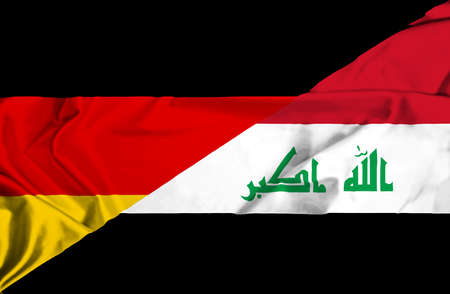 iraq conflict: Waving flag of Iraq and Germany