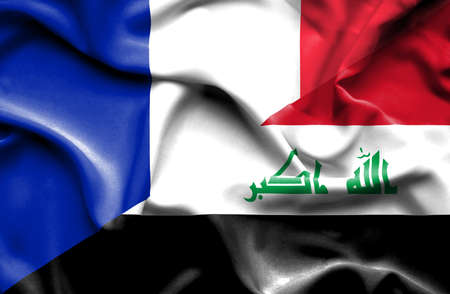 iraq money: Waving flag of Iraq and France