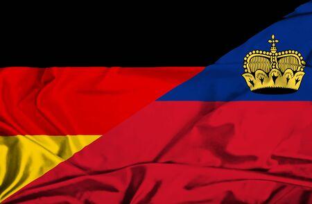 lichtenstein: Waving flag of Lichtenstein and Germany