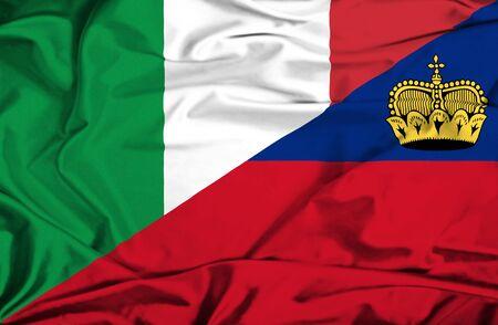 lichtenstein: Waving flag of Lichtenstein and Italy Stock Photo