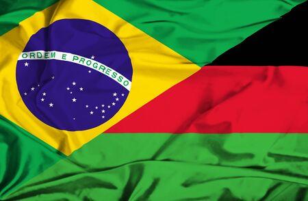 malawian flag: Waving flag of Malawi and Brazil