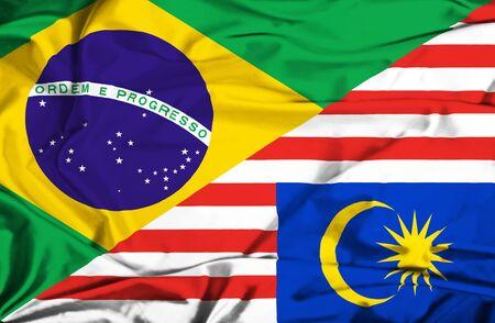 malaysia culture: Waving flag of Malaysia and Brazil