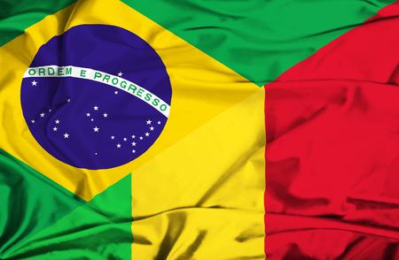 immigrant: Waving flag of Mali and Brazil