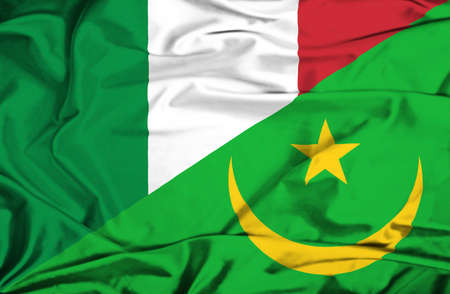 mauritania: Waving flag of Mauritania and Italy