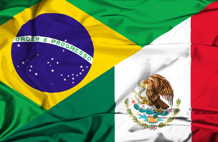 Waving flag of Mexico and Brazil photo