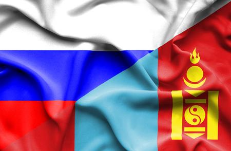 Waving flag of Mongolia and Russia photo