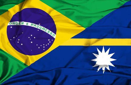 nauru: Waving flag of Nauru and Brazil Stock Photo