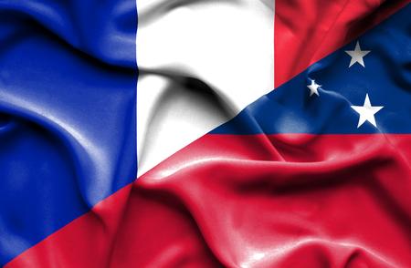 samoa: Waving flag of Samoa and France Stock Photo