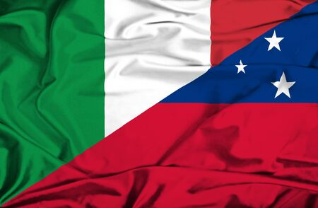 samoa: Waving flag of Samoa and Italy Stock Photo