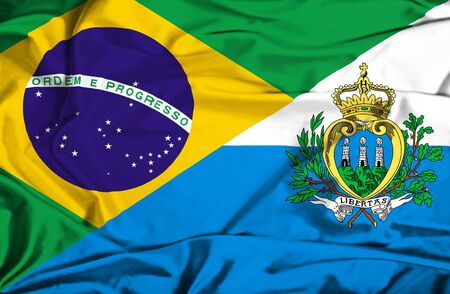 marino: Waving flag of San Marino and Brazil