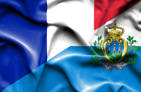 san marino: Waving flag of San Marino and France Stock Photo