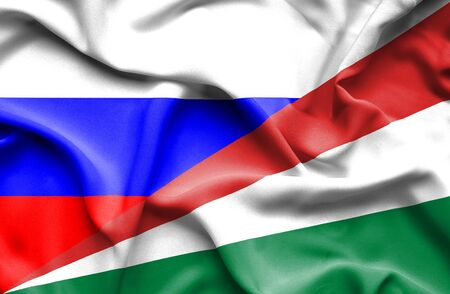 seychelles: Waving flag of Seychelles and Russia