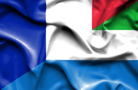sierra leone: Waving flag of Sierra Leone and France
