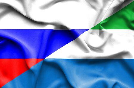 leone: Waving flag of Sierra Leone and Russia