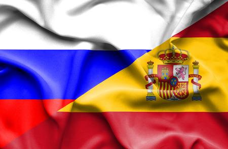 Ondeando la bandera de España y Rusia Foto de archivo - 36593409