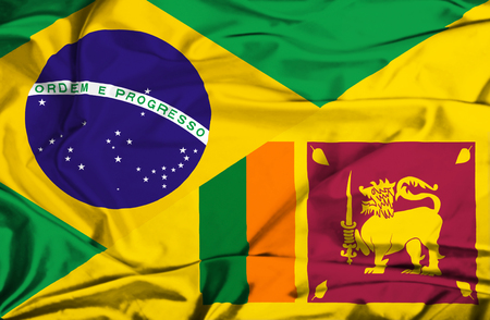 sri lankan flag: Waving flag of Sri Lanka and Brazil Stock Photo