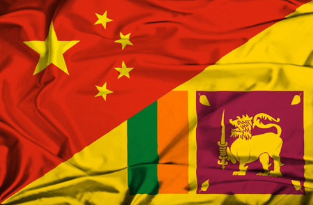 sri lankan flag: Waving flag of Sri Lanka and China Stock Photo