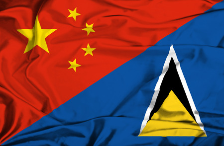 st lucia: Waving flag of St Lucia and China