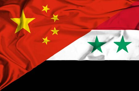syria peace: Waving flag of Syria and China