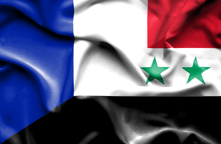 syria peace: Waving flag of Syria and France
