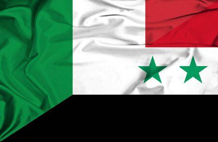 syria peace: Waving flag of Syria and Italy Stock Photo