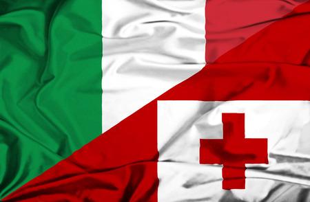 tonga: Waving flag of Tonga and Italy Stock Photo