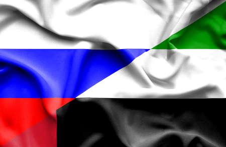 emirates: Waving flag of United Arab Emirates and Russia