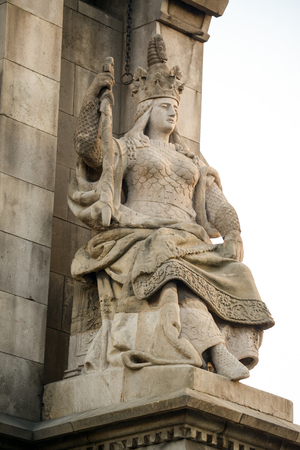habour: Columbus column on the Barcelona habour with high details