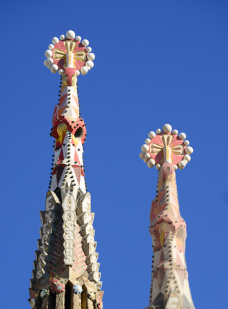 unique characteristics: BARCELONA, SPAIN - DECEMBER 31, 2015: Detail of Sagrada Familia church (Temple Expiatori de la Sagrada Famalia) in Barcelona, Spain. Designed by Antoni Gaudi, UNESCO World Heritage Site