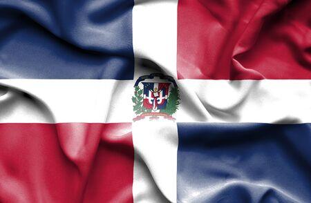 dominican: Dominican Republic waving flag Stock Photo