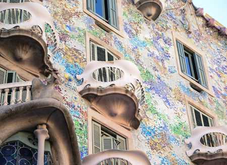 famous building: BARCELONA - DECEMBER 30 2015 : Casa Batllo on dECEMBER 30, 2015 in Barcelona, Spain. This famous building was designed by Antoni Gaudi and is one of the most visited of the city Editorial