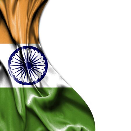indian flag: India waving silky flag isolated on white background