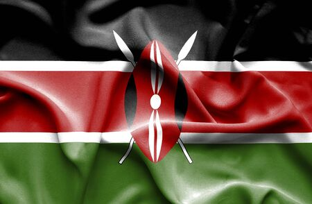 kenya: Kenya waving flag Stock Photo