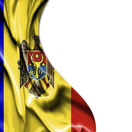 moldavia: Moldavia waving silky flag isolated on white background