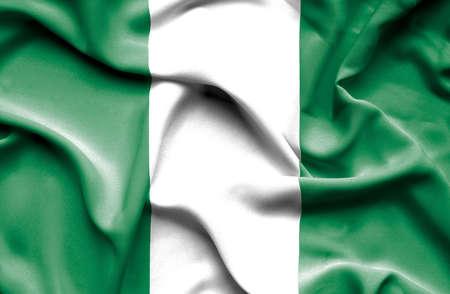 nigeria: Nigeria waving flag Stock Photo