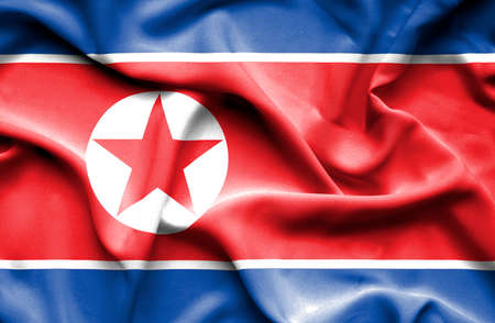 north korea: North Korea waving flag