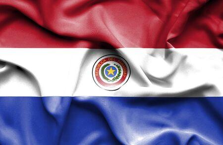 bandera de paraguay: Bandera que agita de Paraguay