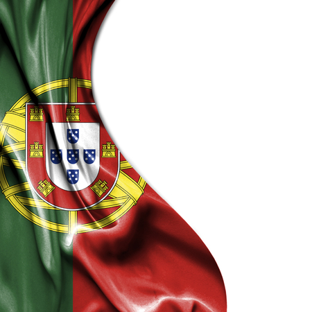 portugese: Portugal waving silky flag isolated on white background