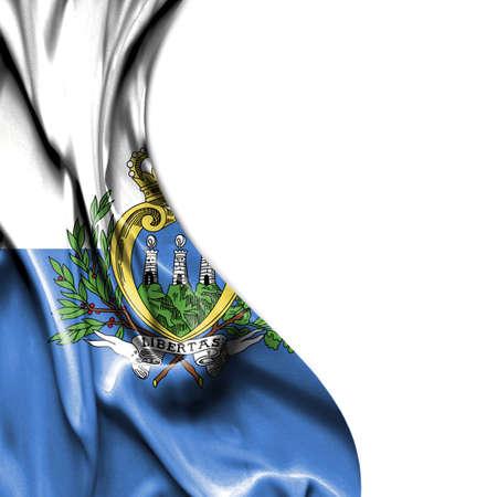 san marino: San Marino waving silky flag isolated on white background