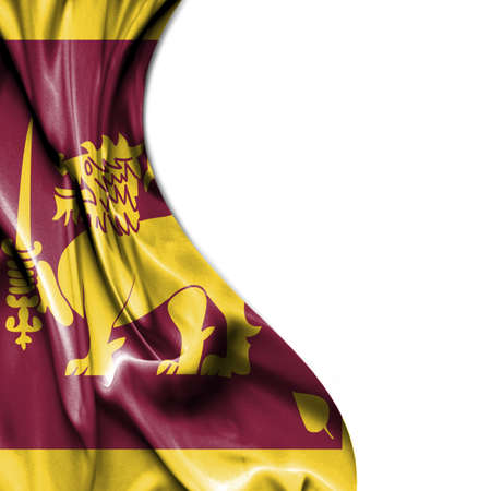 sri lanka: Sri Lanka waving silky flag isolated on white background Stock Photo