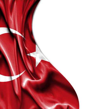 Turkey waving silky flag isolated on white background Standard-Bild