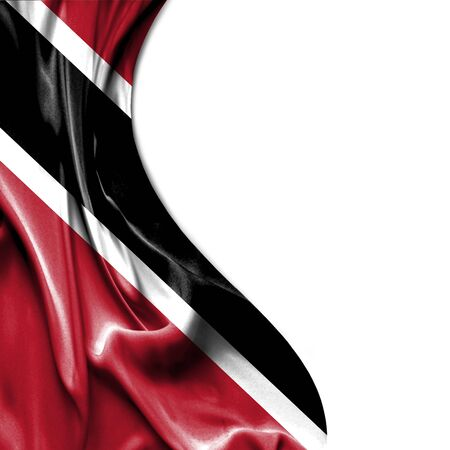 trinidad: Trinidad and Tobago waving silky flag isolated on white background