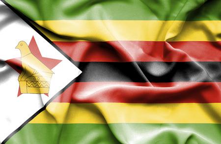 zimbabue: Bandera que agita de Zimbabwe