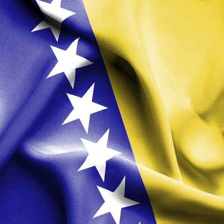 bosnia: Bosnia and Herzegovina waving flag