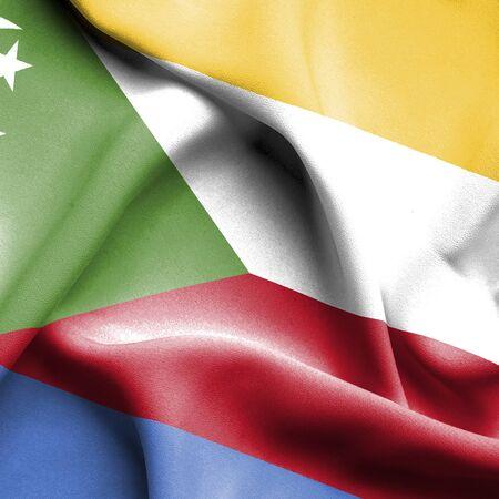 comoros: Comoros waving flag Stock Photo