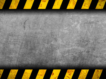 silver background: Grunge metal background with black and yellow warning stripes