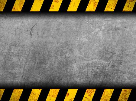 Grunge metal de fondo con rayas negras y amarillas de advertencia